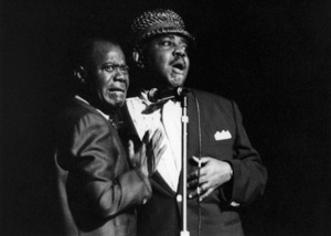 Louis Armstrong and Tyree Glenn, Hammersmith Odeon, London1968Photo by Brian Foskett © National Jazz Archive - Image FOS_0021